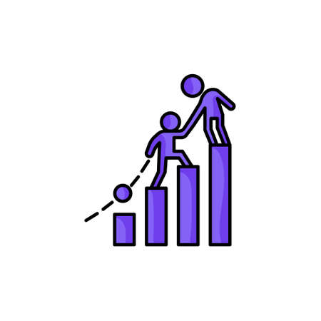 chart business helping another person colorful icon vector illustration Ilustração