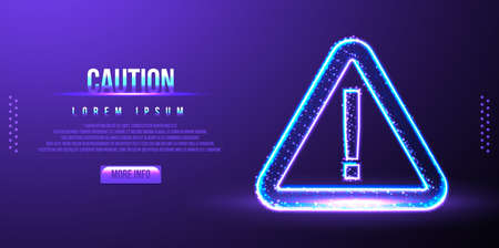 caution sign, low poly, vector illustration