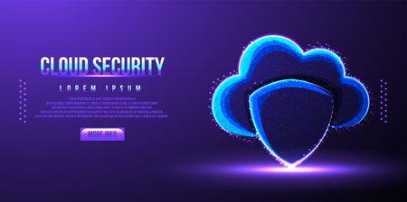 cloud shield security low poly wireframe vector illustration Ilustração