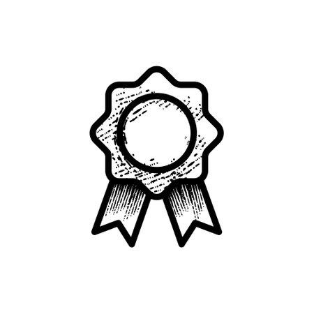 medal badge hand drawn icon vector illustration