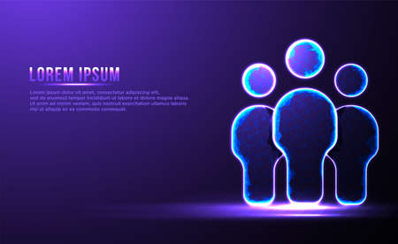 People group community Low poly wireframe vector illustration