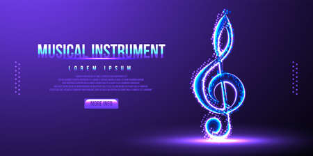 musical instrument note low poly wireframe vector illustration Ilustrace