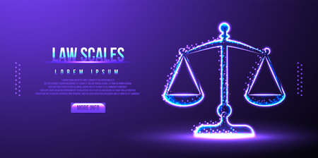 law scales, judge balance, low poly wireframe vector illustration Ilustração