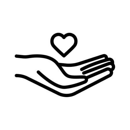 hand holding heart vector illustration, isolated on white background Ilustração