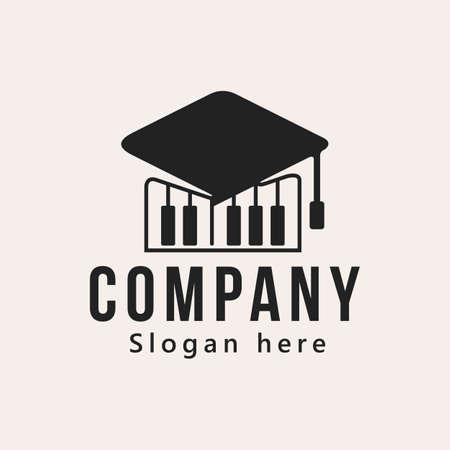cap and piano lesson logo design, vector illustration