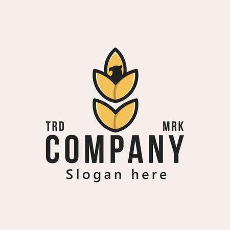 organic wheat logo icon vector illustration