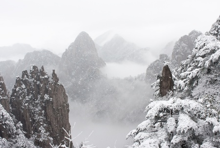 China Huangshan in winter snow