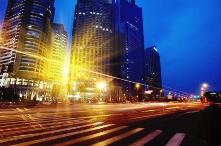 Shanghai Pudong road light trails photo