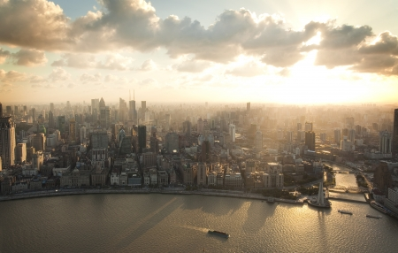 Shanghai Pudong birds eye view of the city photo