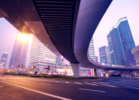 the light trails on the modern building background in shanghai c Stock Photo - 16106077