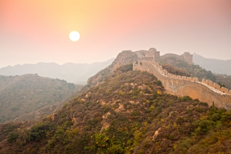Great Wall of China fall morning photo