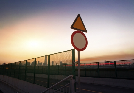 In the evening, highway signs photo
