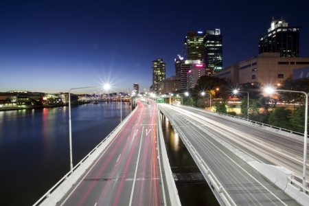 australian landscape: Brisbane city, night Stock Photo