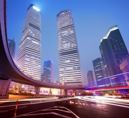 Shanghai Pudong night, car light trails