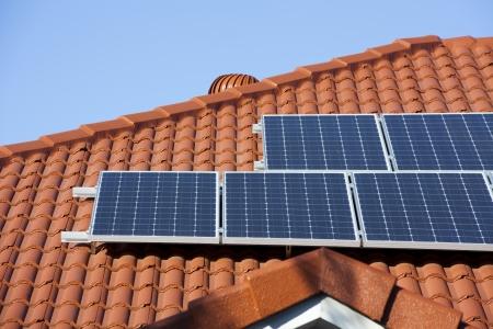 power consumption: Solar panels Stock Photo