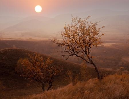 Autumn sunset mountain Stock Photo - 17234941