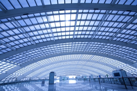 modern hall of subway station at T3 airport in beijing china
