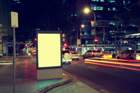 city by night: Modern city advertising light boxes Editorial