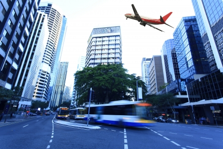 Modern city buildings and aircraft in Brisbane
