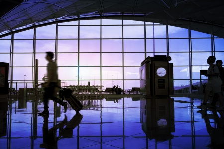 business lounge: Airport terminal hall, walking travelers