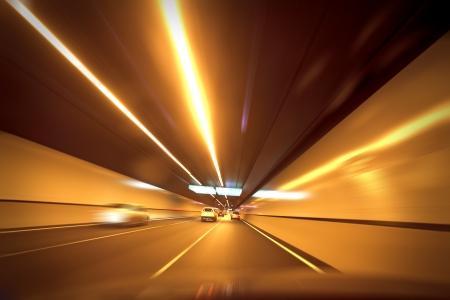 The tunnel driving the car Standard-Bild