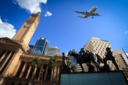 Brisbane modern architecture and aircraft photo
