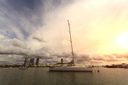 Gold Coast coastline, yacht Stock Photo - 19331741