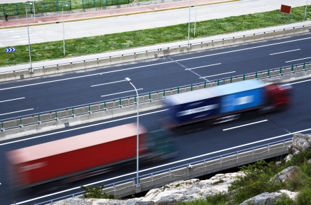 cary: Freight cars traveling on the highway