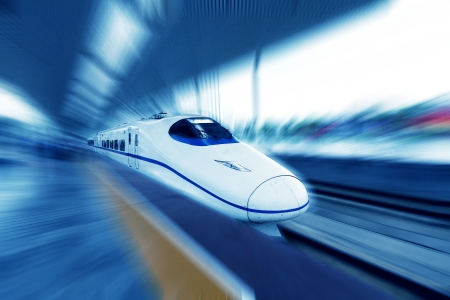 subway train: High-speed train in motion