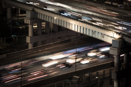 Viaduct light trails of cars photo