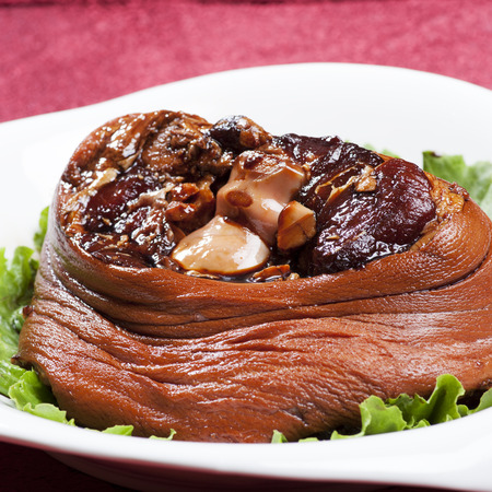 Chinese dishes, roast pigs trotters photo