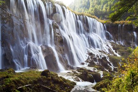 sichuan province: China, Sichuan Province, Jiuzhaigou waterfall Stock Photo