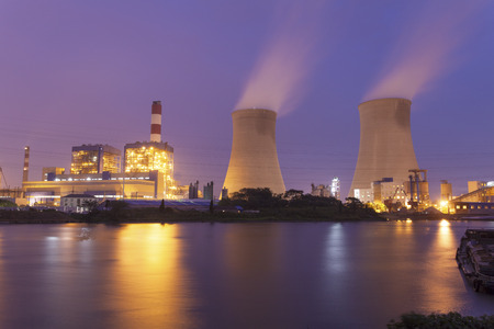 Power plant at night photo