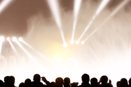 outdoor lighting: festivals, outdoor stage lighting and people Stock Photo