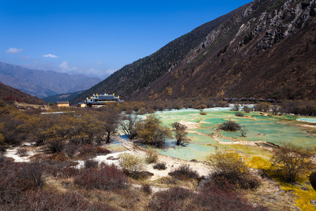 landforms: China Huanglong landforms Stock Photo