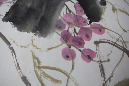 Chinese painting on paper, local photo
