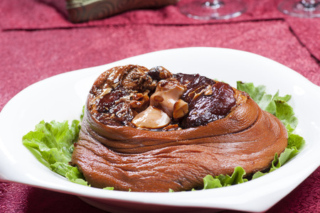 trotters: Chinese dishes, roast pigs trotters Stock Photo