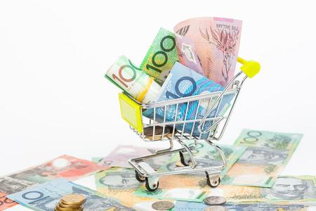 australian money: Australian Dollar banknotes on white background