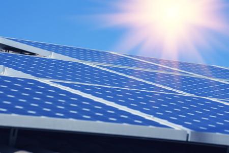 solar panel house: Photovoltaic solar energy Stock Photo