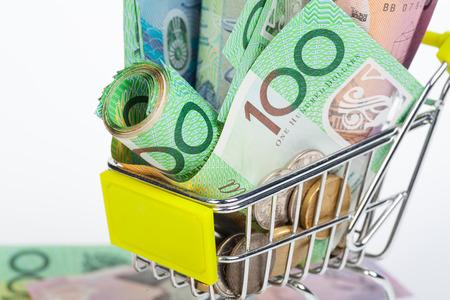 money notes: Australian Dollar banknotes on white background