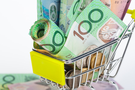 Australian Dollar banknotes on white background