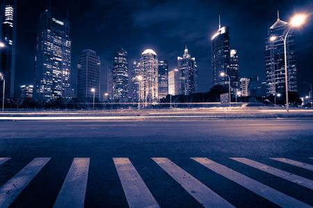 上海浦東街の夜 写真素材