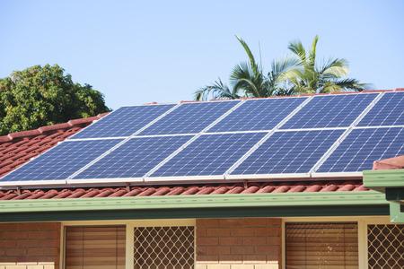 Rooftop solar panels Archivio Fotografico