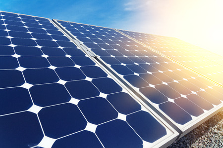 Solar panels aligned work Standard-Bild