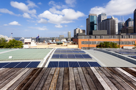 rooftops: Rooftop solar panels Stock Photo