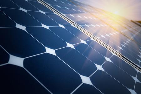 paneles solares: Arreglo de la planta de producci�n de energ�a solar Foto de archivo