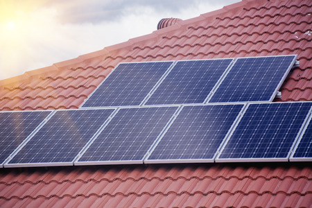 solar panel roof: Rooftop solar panels Stock Photo