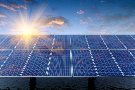 solar power plant: Solar panels Stock Photo