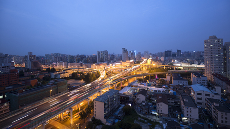 elevated: China Shanghai Elevated Road Traffic Stock Photo
