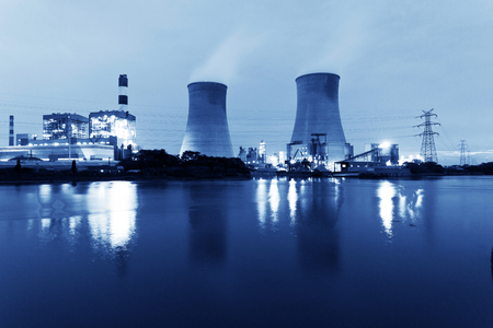 thermal pollution: Thermal power plant at dusk Editorial